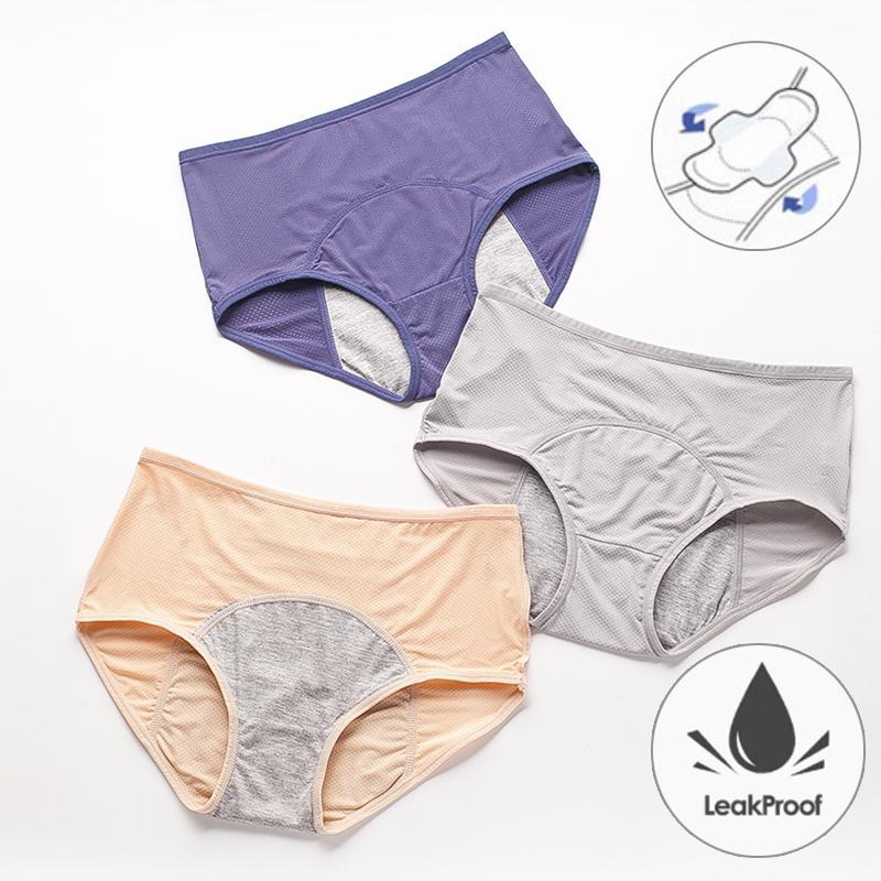 L'épreuve des fuites culottes menstruelles Pantalons Physiologique femmes Sous-vêtements en coton Période Briefs imperméable Taille Plus Femme Lingerie