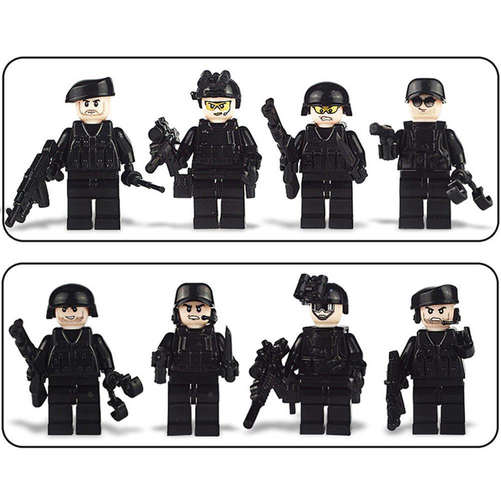 Askeri Özel Kuvvetler Askerler Bricks Montajlı 8pcs Silahlar Silahlar Şekil Uyumlu Legoings Yapı Taşları