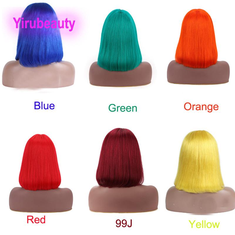 Brazilian Virgin Hair Mathine-made Bangs wigs Straight Red Pink Blue Purple Bob Wig 100% Human Hair