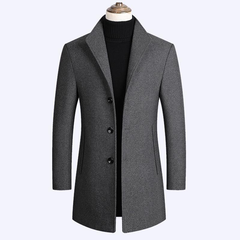Cappotti di lana Uomini misto lana cappotti di inverno di autunno dei nuovi uomini di colore solido di alta qualità di miscele di lusso cappotto maschile