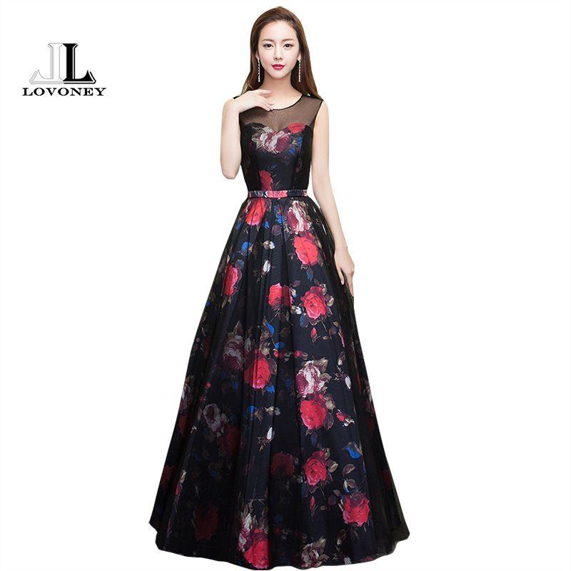 Lovoney Novo Design Teste padrão de flor elegante vestido de noite longo ver através Voltar formal do partido Vestidos Vestido de Noite M209 Y200930