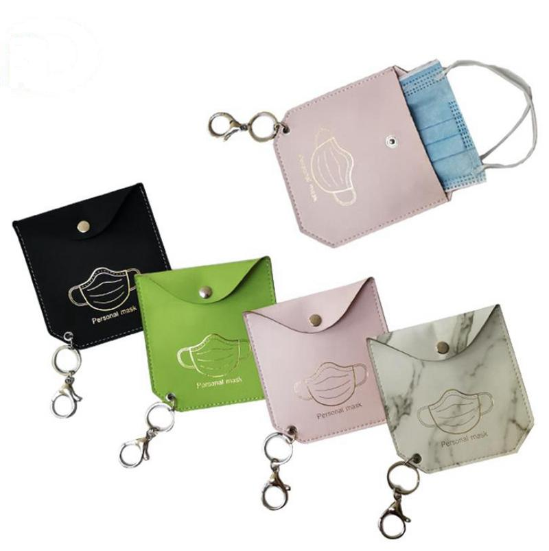 Máscara Bolsa de almacenamiento PU Mascarilla de cuero Bolsas de almacenamiento para niñas portátiles Llavero de llaves de llavero Polvo Máscaras Portadas de la tarjeta Accesorios 8 diseños BT5955
