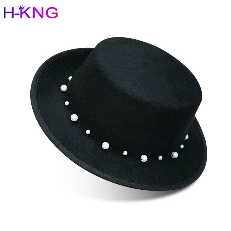 Fedora Panamá sobre el nuevo sombrero de lana de invierno Cerebridades cálidas Pearl Grande Francés Egition Edition Tide para las mujeres Noble Top Hat