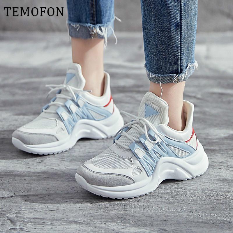 TEMOFON mujeres Chunky zapatillas de deporte de las mujeres zapatos casuales de la moda informal vulcanizar zapatos de las señoras blancas más tamaño Deportivas mujer HVT602 1020