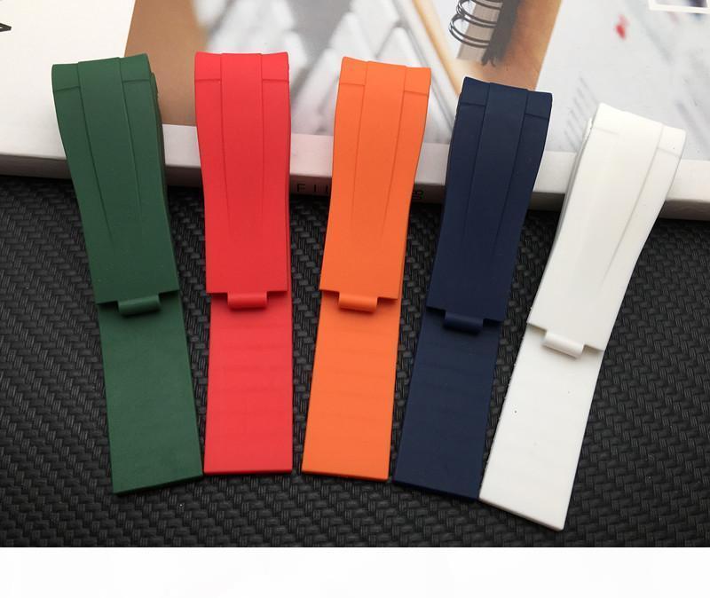 Bande de montre de 21mm * 18mm de montre courbe en caoutchouc en caoutchouc de silicone pour la sangle de rôle pour l'explorateur II 2 42mm Bracelet Boucle de combinaison