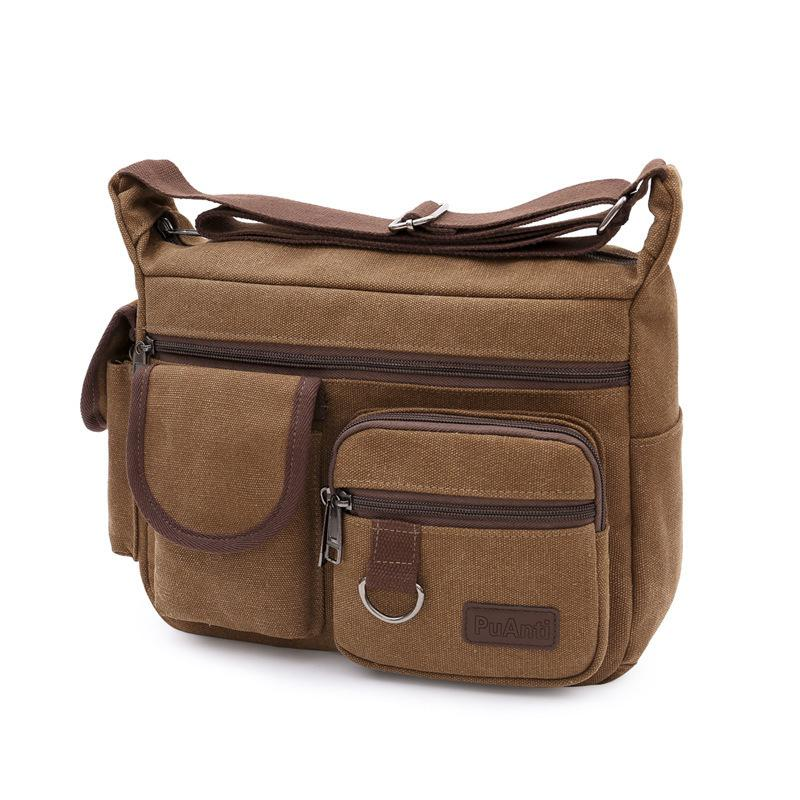 HBPMultifunctional Men's Vintage Briefcase Canvas Business Office Messenger Laptop Large Capacity Shoulder Bag XA509F Q0112