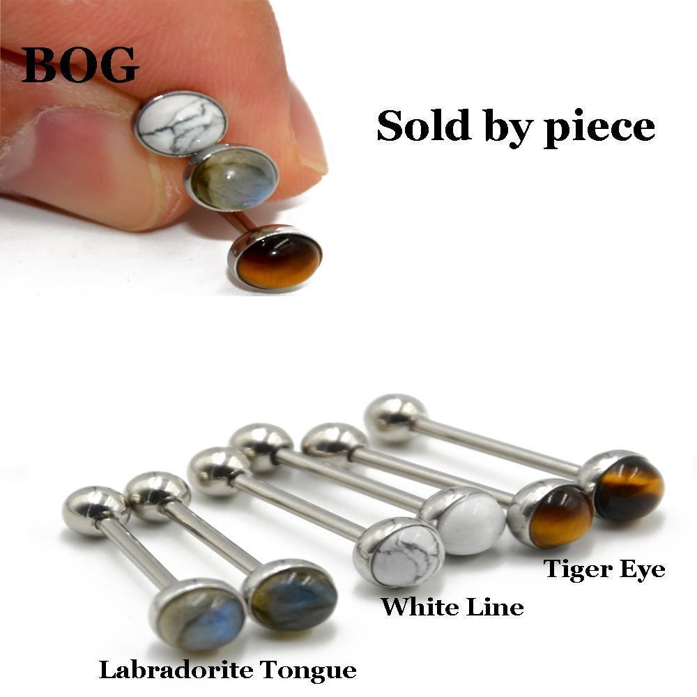 316L Acciaio chirurgico Labradorite Tiger Eye Bianco Linea Stone Tongue Bilanciere Anello Body Piercing Gioielli 14G Q SQCTKZ