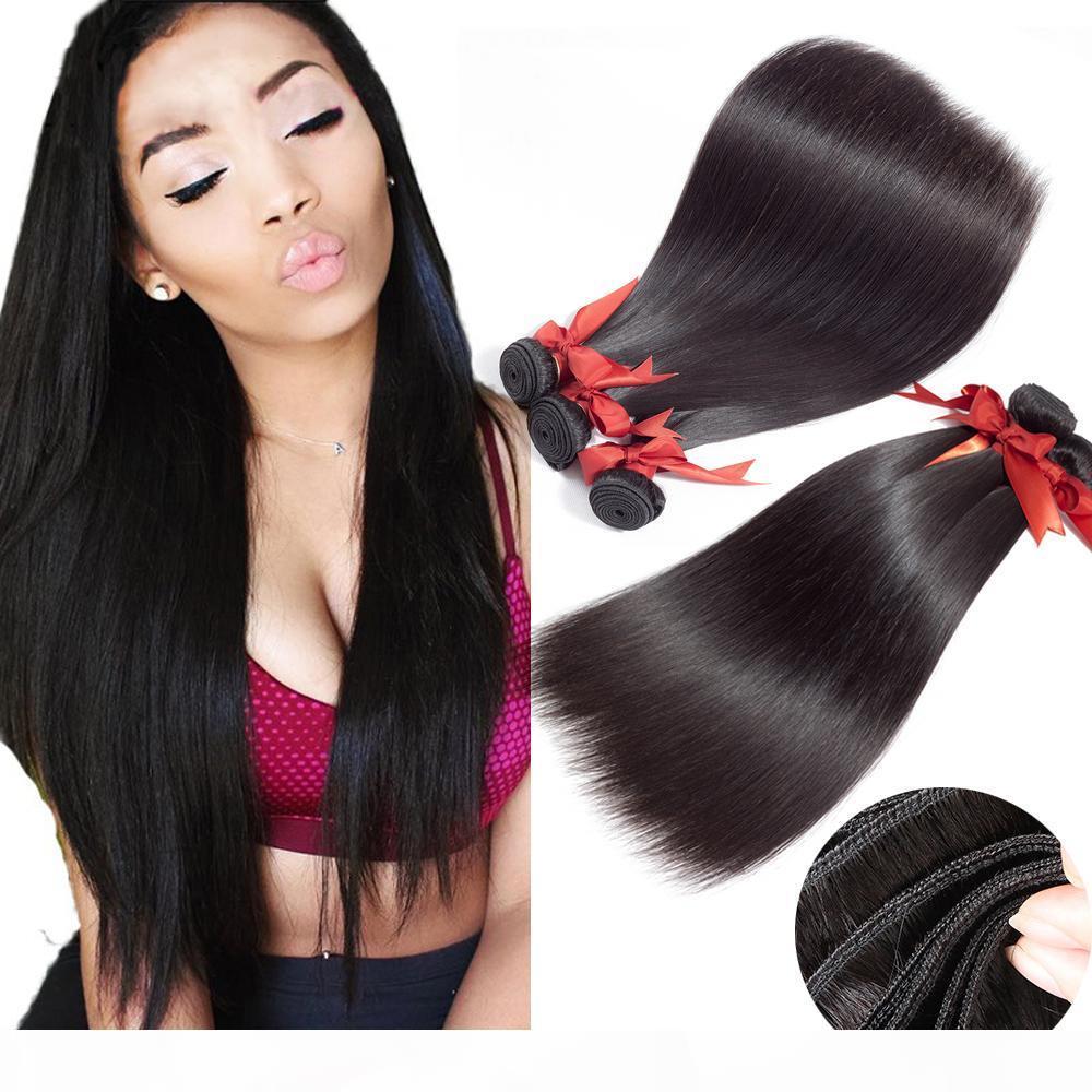 Beaudiva 7A Cabello brasileño recto 100% sin procesar Virgen Brasileño Humano Hair 3 Paquetes con 13 * 4 Cierre Color natural de tejido recto