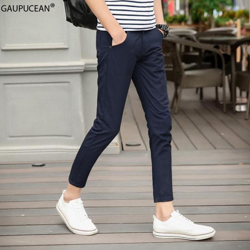 Tobillo de los hombres pantalones de la longitud del 95% de algodón de primavera y verano fina de color caqui suave gris azul rojo masculino delgado hombre joven lápiz novenos pantalones