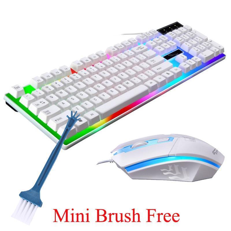 Freie Bürste RGB Gaming Tastatur-Maus-Hintergrundbeleuchtung 104 Keycaps wasserdicht verdrahtete USB-Tastatur-Maus-Sets Computer-Komponenten