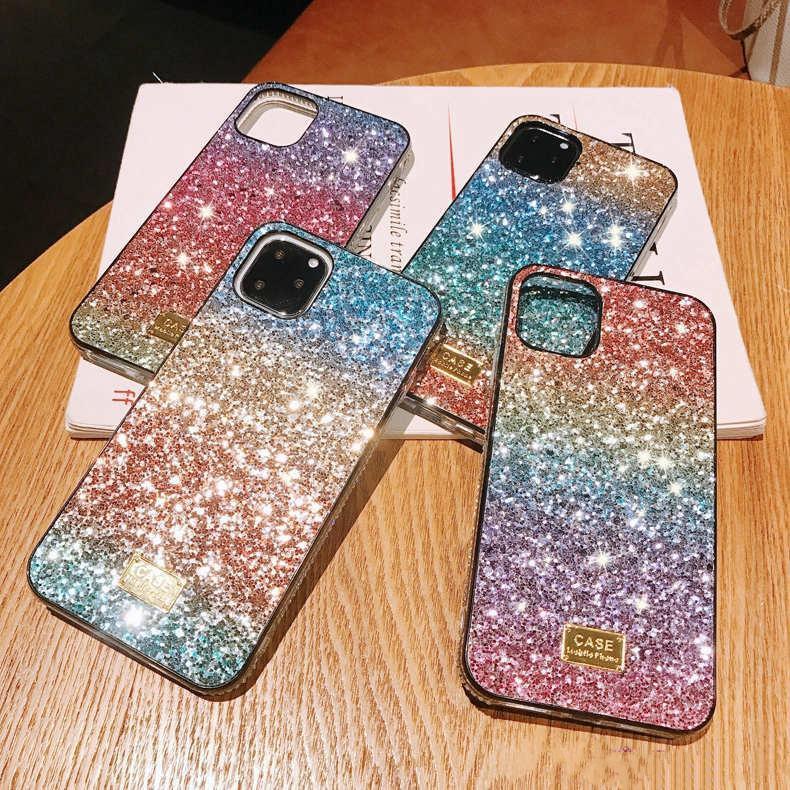 2020 más reciente Gradiente del brillo Rhinestone caso del premio del diseño de las mujeres Defensor teléfono caso para el iPhone 12 11 Pro Xr Xs Max 6 7 8 Plus s20 s10 plus