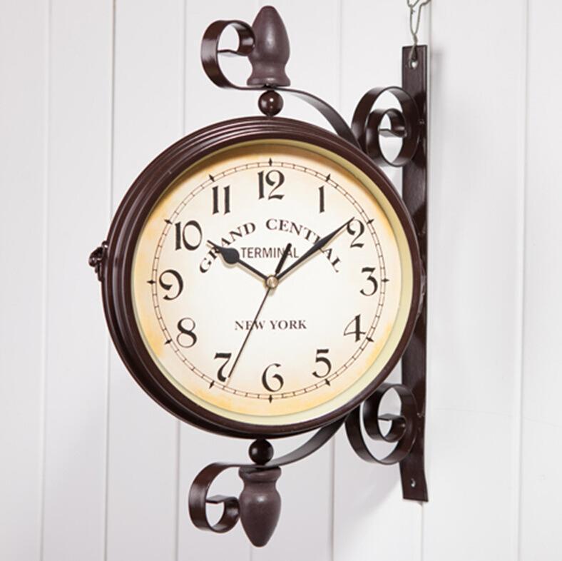 reloj clásico de doble cara reloj de pared café bar decoración de pared de la manera creativa europea WY527