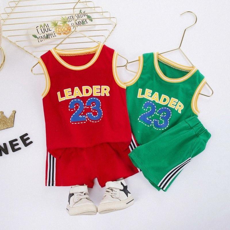 New Verão Criança algodão 2pcs Sets Sports filhos adoráveis Terno Meninos Suit b08e Roupa Moda Infantil Crianças #