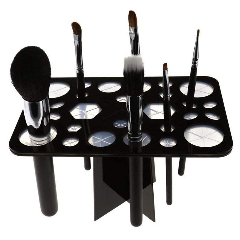 26 buraco maquiagem pincel conjunto seco escovas de secagem prateleira estante multifuncional exibição cosméticos ferramenta limpa lavagem titular escova de maquiagem