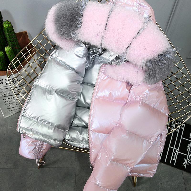 DEAT 2020 Abrigo de invierno otoño nuevas llegadas real encapuchada de la piel gruesa mujeres rosadas recortada chaqueta MK301X1016