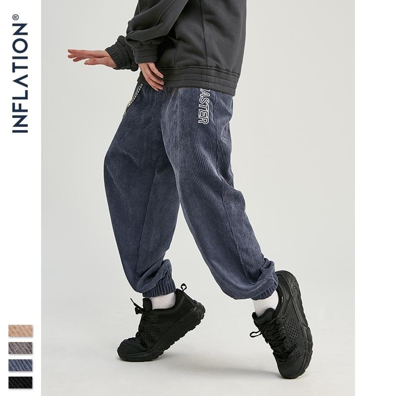 Colección de inflación Hombres Casual Corduroy Jogger Pantalones Hombres Fit Fit Monos Overoles Pantalones casuales Color sólido 93305W Y201123