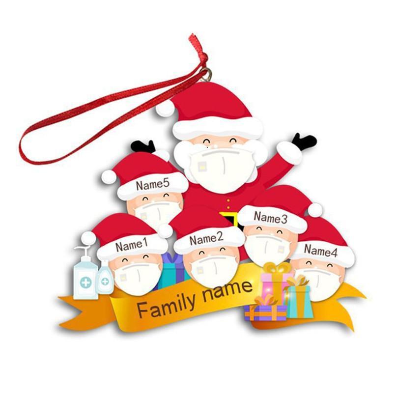 Máscara facial de la familia de los 3 4 5 6 adorno de navidad pandemia personalizado del árbol de Navidad del muñeco de nieve colgantes Partido Pendents decoración DIY Juguetes EWE1807