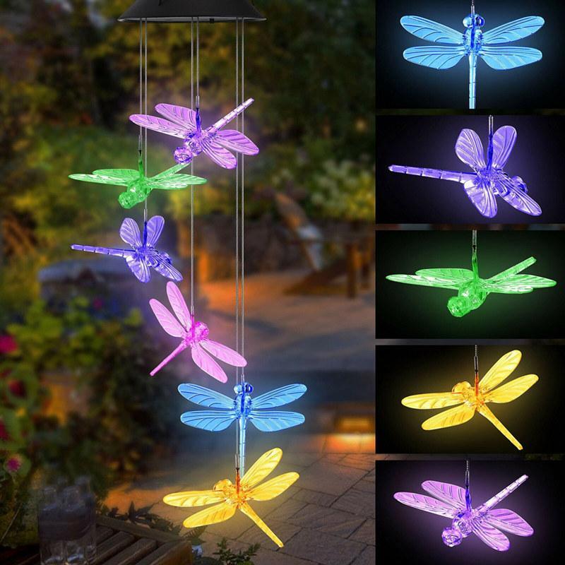 Hot LED Solar Wind Kelch Licht Hängende Spiralleuchte Kugel Wind Spinner Glocke Bell Lichter Hummingbirds Libellen Outdoor Home Garten Dekor
