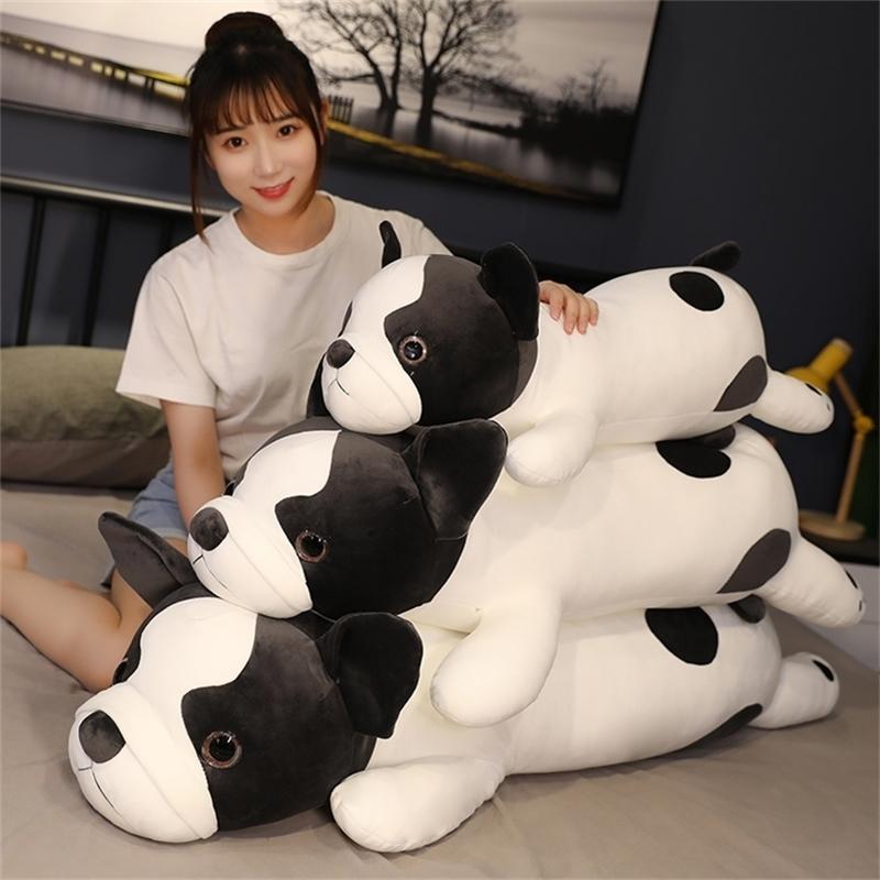 Squishy Black Bulldogge Hund Spielzeug Weiche liegend Plüsch Niedlichen Doggy 80/100 / 120cm Schlafen Freund Animal Geschenk für Kinder 201214