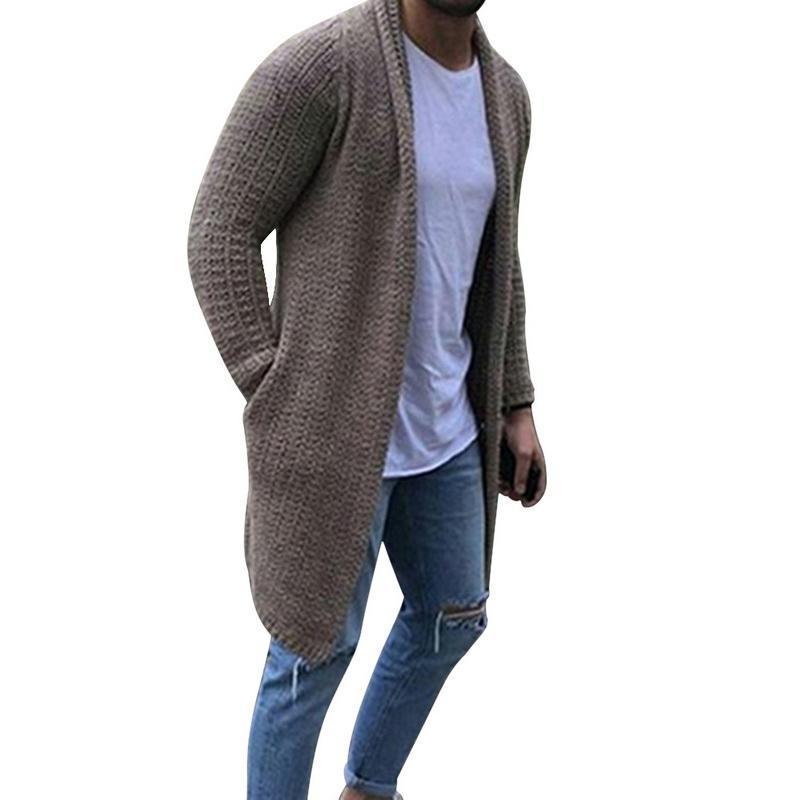 2020 Nouveau Cardigan Hommes manches longues Midi Manteau Pull Cardigans Casual Couleur solides de poche d'hiver et d'automne