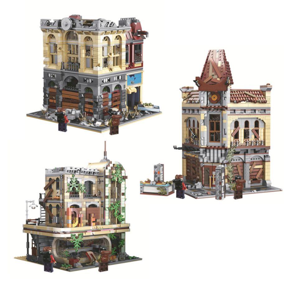 Moc City Creator Street The Ruin City Cinema Bank Ensembles Streetview 15006 15001 15037 Modèle Building Blocks Bricks Jouets Enfants Cadeaux X0102