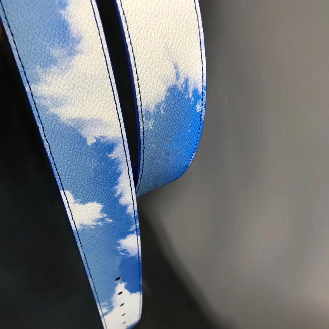 Nuova qualità Blu Blue Sky Bianco Cloud Genuininle Cinghia da uomo in pelle con scatola Moda uomo classico in oro argento fibbia cintura da uomo Designer cinture 78
