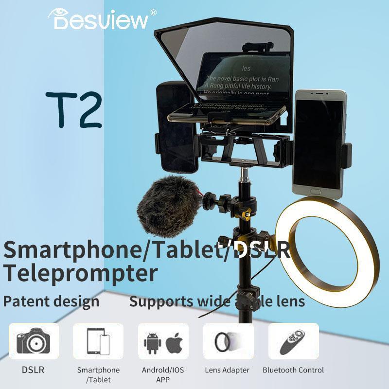 BestView T2 8 polegadas Teleprompter Para Camera para o telefone Prompter iPad Smartphone VS T1 Luz Troip Kit