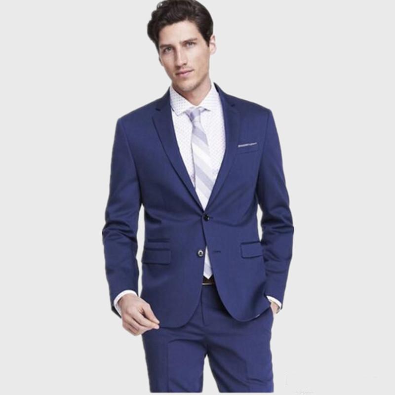 Custom Made Terno Para Casamento Slim Fit Blu Uomini Suit Tuexdos vestito convenzionale da promenade del partito smoking dello sposo (Jacket + Pants)