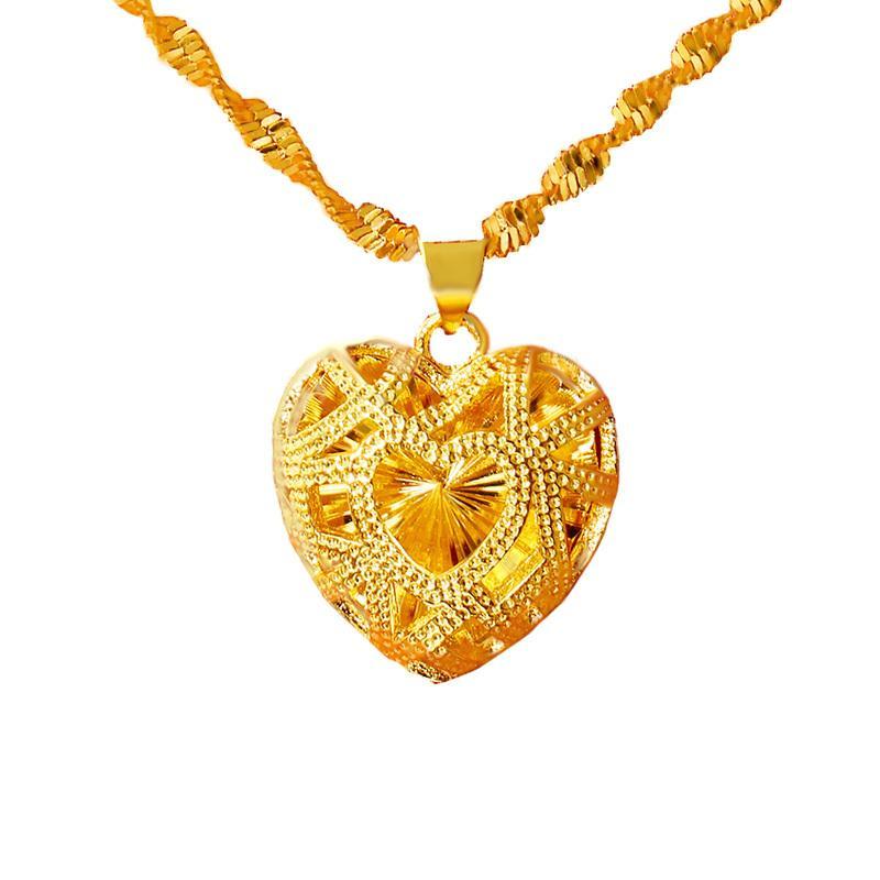 Kadınlar Moda Tasarımı 24K Dubai Altın Takı evlilik yıldönümü Andı Takı 1020 için kalp şekli kolye kolye