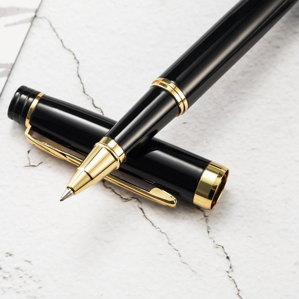 Pluma de la oficina de negocios de lujo bolígrafo de metal negro bolígrafos para estudiante escribiendo de nuevo a la escuela Suministros de papelería 03751