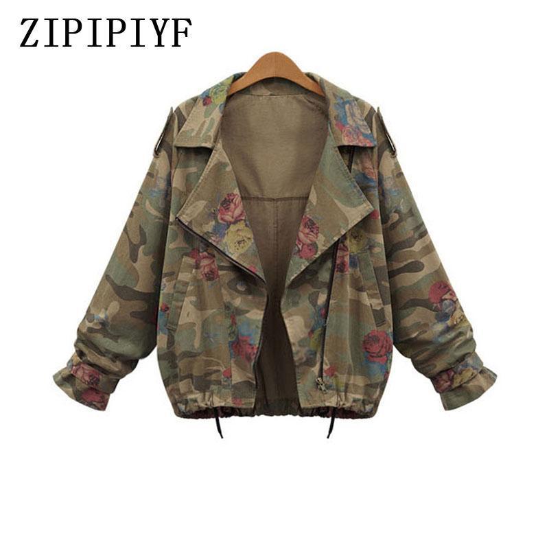 ZIPIPIIYF Grande Taille L-4XL 2020 Bat Sleeve Vintage Armée Verte Camo Denim Jacket Manteau Rose Imprimer Camouflage Femmes Jeans manteau