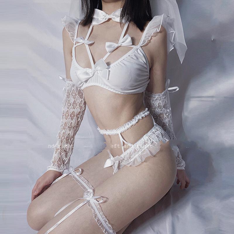 요정 웨딩 Cosplat 란제리 세트 레이스 활 스파게티 스트랩 브라와 장갑 여성 투명 유혹 잠옷과 팬티