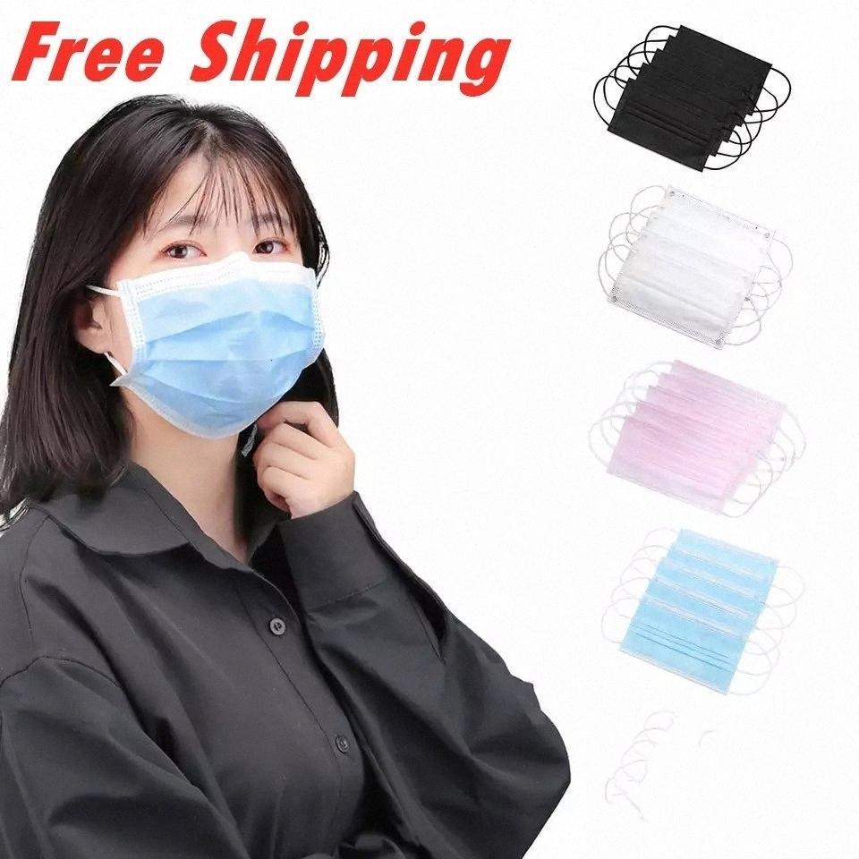 Maschere per il viso monouso Nero Rosa liberi maschera blu bianco di trasporto 3 pieghe traspirante polvere Protezione Inquinamento Bocca copertura Masque Jetab Rjqz #