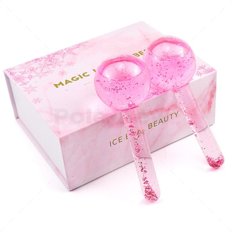 Design Gesichtskühlung Eiskugeln Kälte Therapie Gesichtsmassage Eis Massage Ball Magie Glitter Schönheit Eiskugeln Massagegerät