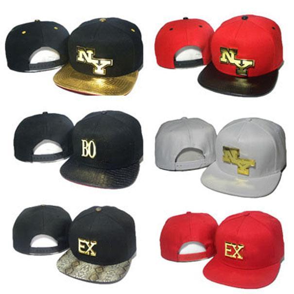 Fashion Letter Snapbacks Metal Logo Hats Men Women NY EX BO Snap back Black Red Baseball Caps Hip Hop Hat Leopard High quality