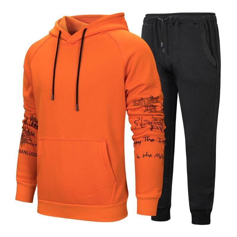 İlkbahar Sonbahar Erkek Kazak Kapşonlu Katı Renk Tracksuits 2 adet Seti Hoodie + Pantolon fitnes Erkekler Günlük Spor Suit Koşu