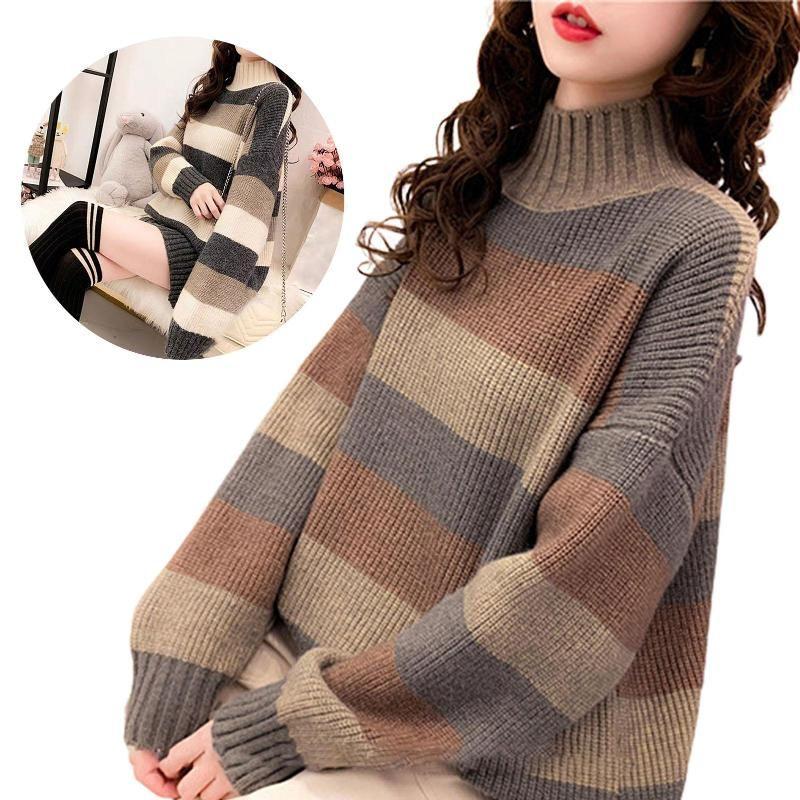 Женские свитера женщины с длинным рукавом изделка шеи цвет блокировки свитер осень зима трикотажные перемычки