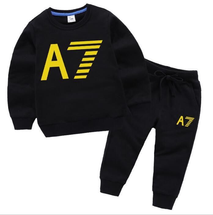 Sıcak satış moda çocuklar 2020 sonbahar Çocuk giyim markası spor takım elbise baskı mektup çocuklar uzun kollu ceket ve pantolon eşofman