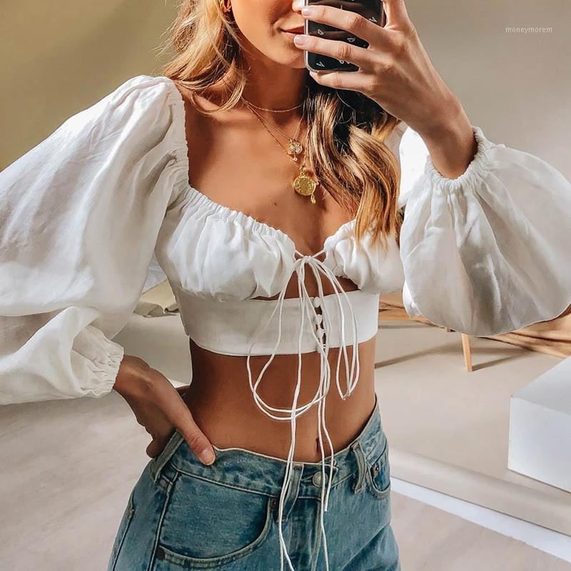 Sexy Femmes Lâche Lanterne Sleeve Shirt Shirts Crop Tops Mode Hollow Bandage Collier Square Tops Dame nue Belly Blouses1