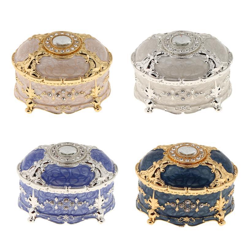 Neuheit Oval Vintage-Metall-Schatz-Kasten Tränke-Bolzen-Schmuckschatulle Box Geschenk