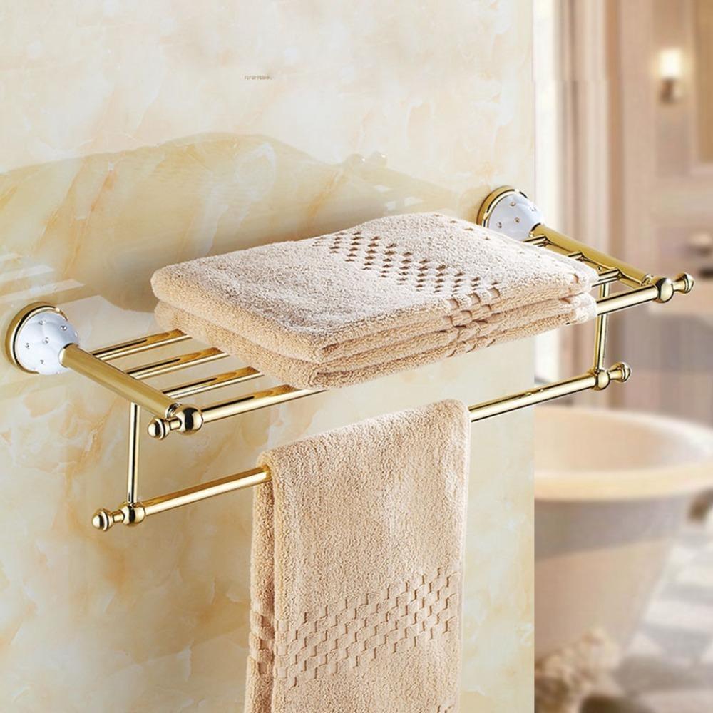 Accessoires de salle de bains d'or de luxe avec diamant, finis doré Toilet toilette porte-serviettes bar étagère porte-brosse à brosse de bain Matériel de bain LJ201204
