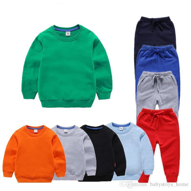 Baby Boys Children Solid Odzież Dzieci Spodnie Sweter Odzież Bawełniana Dziewczyny Chłopcy Odzież