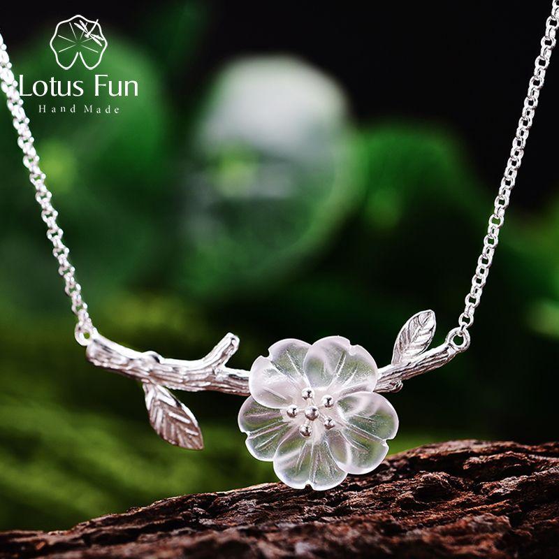 Lotus diversión genuino 925 Diseñador de plata de ley hecho a mano joyería fina flor en el collar de la lluvia con colgante para las mujeres Collier 1020