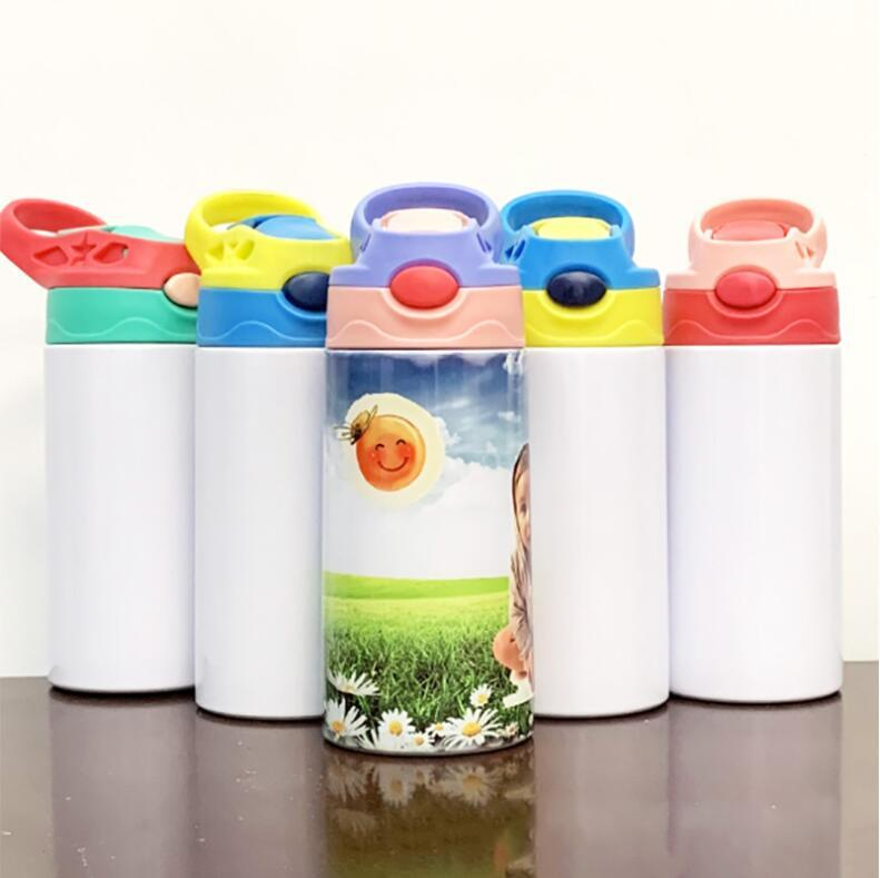 12 أوقية التسامي مستقيم سيبي كوب الأطفال زجاجة المياه 350 ملليلتر فارغة الأبيض المحمولة الفولاذ المقاوم للصدأ فراغ معزول الشرب بهلوان البحار الشحن EEA560