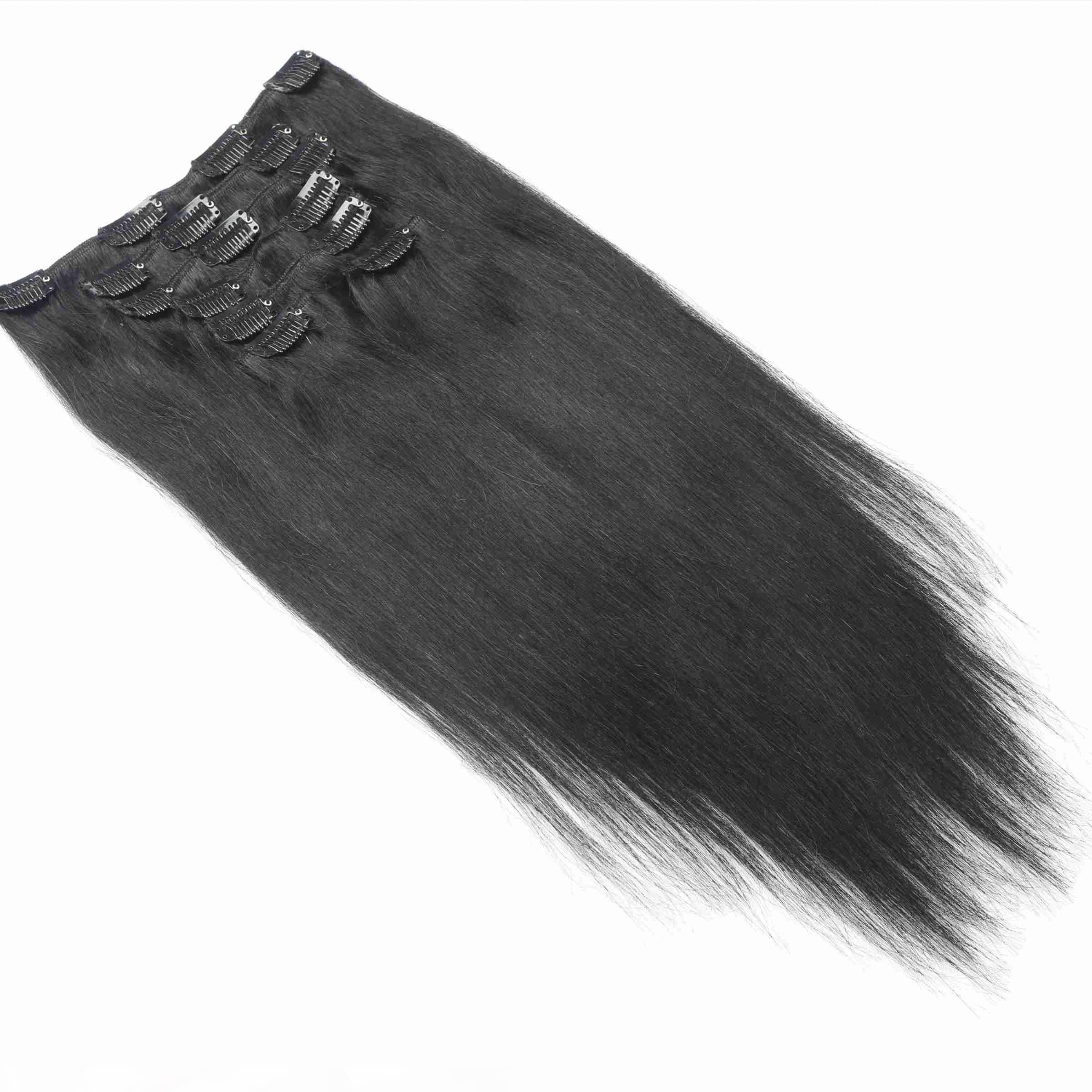 Remy brasileño derecho Clip de pelo extensiones del cabello humano natural del color 7 jugadas cabeza completa Establece 120G 160G 200G