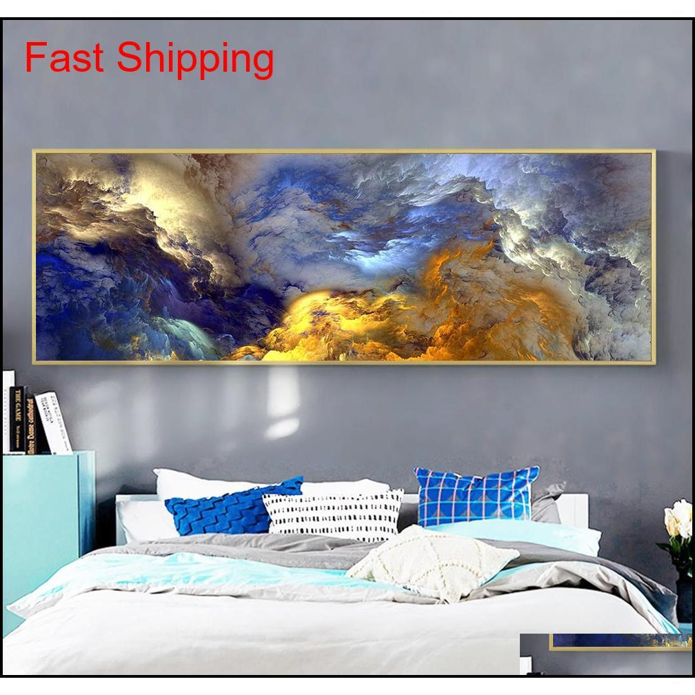Wangart Abstract Colors Unreal Canvas Poster Blue Landscape Wall Art Painting Living Room Wall Hanging Mode qylUII packing2010