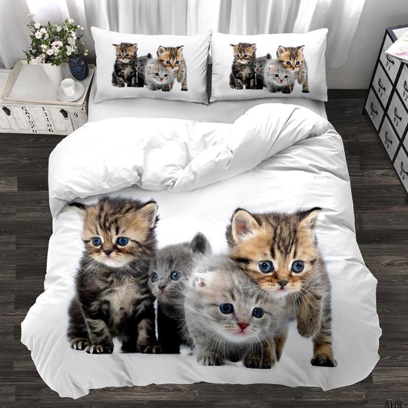 Hayvan 3D Sevimli Kedi Özel Set Yavru Yorgan Kapak Yastık Kılıfı 3 adet Twin Tasarımcı Yatak Lüks