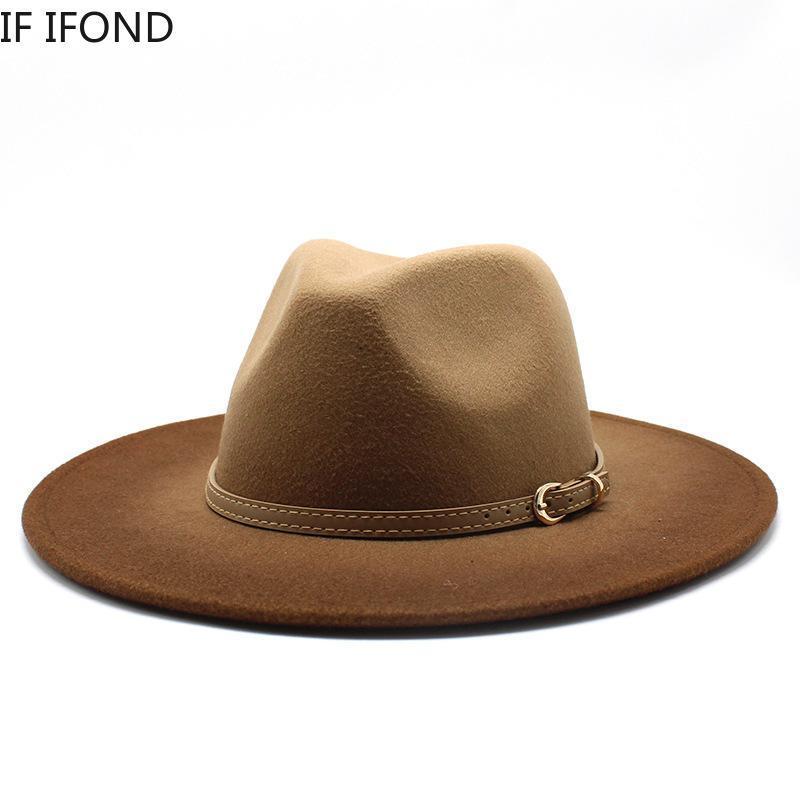Британский стиль зимы шерсти Широкий Брим Fedoras довершение мужчин, женщин Панама Стиль Jazz Шляпы Fashion Party Trilby Gambler Hat