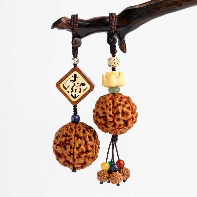 Природные Rudraksha бисер брелок автомобиля Оригинальный ручной плетеный канат Лаки Вход Лотос Key Holder Медитация Буддизм Ювелирные изделия Амулеты