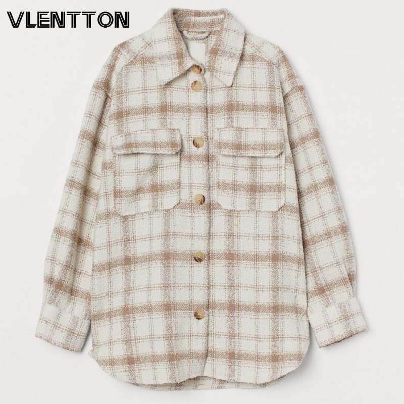 Neue Herbst Winter Vintage Plaid Shirts Jacke Frauen Chic Button Tweed Mantel Weibliche Beiläufige Lose Outwear Tops Damen Mujer